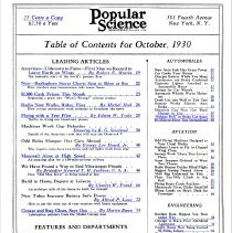 Image of 10/1930 Popular Science Table of Contents 1