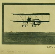 Image of Henri Farman aloft at Reims, 1909, in his Farman III