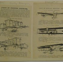 """Image of """"Parts of existing machines"""" : airplane diagrams, circa 1905"""