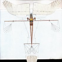 Image of 1911 paper Taube model - wings and tail unfolded to show inner structure