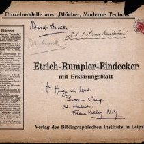 Image of 1911 paper Taube model - original envelope