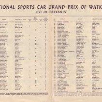 Image of List of entrants for 1950 Watkins Glen International Sports Car Grand Prix