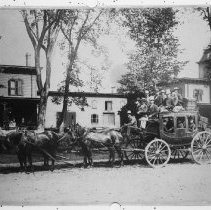 Image of Maine, 1886: Lovell-to-Fryeburg stagecoach loaded with passengers
