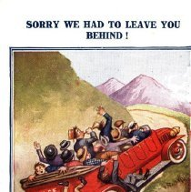 "Image of ""Sorry we had to leave you behind!"" comic auto wreck postcard"