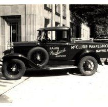 Image of McClure Fahnestock Packard sales/service pickup truck, Wayne, PA; n.d.