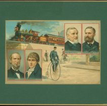Image of Color print showing cyclists, a Pullman train, and inset portraits of inventors/industrialists: James Buchanan Eads, John Loudon McAdam, George Mortimer Pullman, Albert Augustus Pope; on reverse, brief biographies of 18th and 19th century inventors - Lang Collection