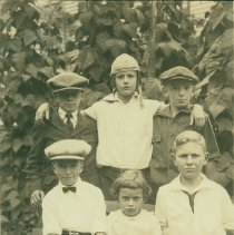 Image of Childhood photo of Bill Milliken and five friends, including Milton Small