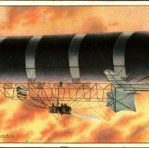 "Image of Color postcard showing dirigible ""Nulli Secundus"" (British Army Dirigible No 1) in flight at sunset or sunrise  - Lang Collection"