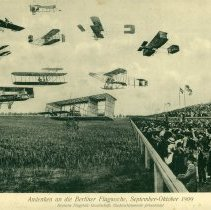 Image of Oversized souvenir photo postcard, Berlin Flight Week, 1909: front