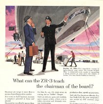 Image of Pan Am Clipper Cargo ad featuring ZR-3 dirigible