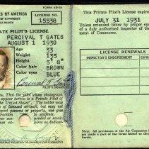Image of Percival T. Gates' American private pilot's license, 1930-1931