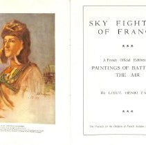 Image of Sky Fighters of France painting exhibit catalog: frontispiece & title page