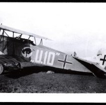 Image of 95th Aero Squadron trophy: Fokker D.VII captured by Sewall on the ground