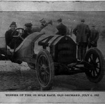 Image of Dave Lewis in Stutz: winner of 100-mile race @ Old Orchard Beach, 07/06/191