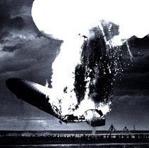 Image of Hindenburg zeppelin LZ 129 exploding into flames over New Jersey