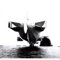Image of Zeppelin approaching its hangar on the Bodensee, July 1908