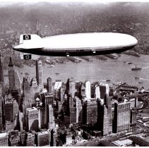 Image of The Hindenburg in flight above New York City, May 6, 1937