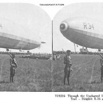 Image of Stereo card of U.S. Navy dirigible R-34 at Minneola, NY