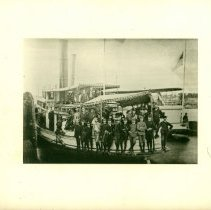 Image of 1885 Wheelmen Bicycle Tour of Maine - tour group aboard ship