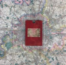 Image of Map case, on Charles S. Rolls' balloon ordnance map of Thames area