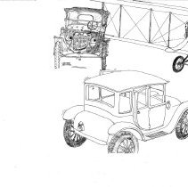 Image of George H. Jennings drawing of anthropomorphised vehicles