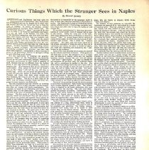 "Image of Harriet Quimby article, 1910: ""Curious Things...Stranger Sees in Naples"""