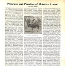 "Image of Harriet Quimby article, 1910: ""Pleasures and Penalties of Motoring Abroad"""