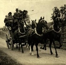 """Image of 8""""x10"""" photo of crowded horse-drawn coach, Long Island, ca. 1930 (edited)"""