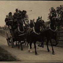 "Image of 8""x10"" photo of crowded horse-drawn coach, Long Island, ca. 1930 (original)"