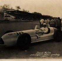 Image of Duke Nalon in #18 Novi Purelube Special, Indianapolis Motor Speedway, 1951
