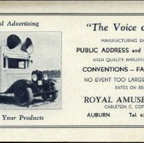 "Image of ""The Voice of Maine"" advertising blotter, Royal Amusement Co."