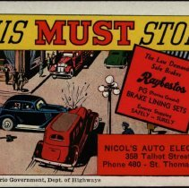 "Image of ""This Must Stop!"" - Nicols's Auto Electric/Raybestos ink blotter"