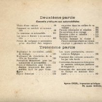 Image of Guide Pratique du Chauffeur, 1902: table of contents, parts 2 and 3