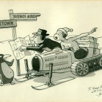 Image of Ralph Stein Bugatti snowmobile cartoon for George C. Rand