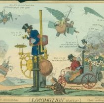 "Image of Robert Seymour satirical etching, ""Locomotion, Plate 2nd: A few small inconveniences/There's nothing perfect""; circa 1835 - Lang Collection"
