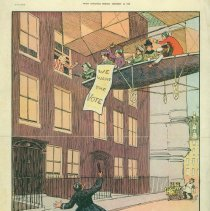 Image of An Englishman's Home: 1909 satirical cartoon w/suffragists in airship