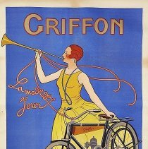 Image of Framed French advertising poster for Griffon bicycles and motorcycles