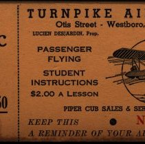 Image of (4) aerial tour tickets, Turnpike Airport, Westboro, MA