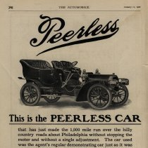 Image of Peerless ad, The Automobile magazine, 01/11/1906