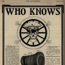 Image of Tire ad with chauffeur skull and blowout, The Automobile magazine, 01/11/06