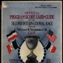 Image of Program and scorecard for 2nd Vanderbilt Cup race, 1905: front cover
