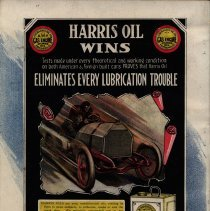 Image of Harris Oil ad from program for 2nd Vanderbilt Cup race, 1905.