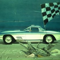 Image of Melbourne Brindle painting of Billy Mitchell's Corvette Mako Shark concept
