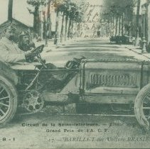 Image of Brasier automobile real photo postcard, showing Barillet at the wheel, 1908