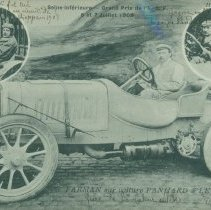 Image of Panhard et Levassor real photo postcard, Maurice Farman @ wheel, 1908