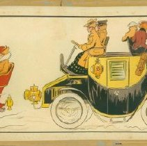 Image of French lithograph: various modes of transportation, ca. 1910