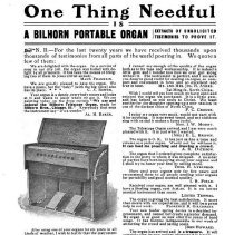 "Image of Bilhorn organ ad, 1904 (from ""The Institute Tie"" magazine)"