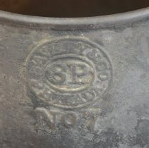 Image of Close-up of maker's mark on side of pan