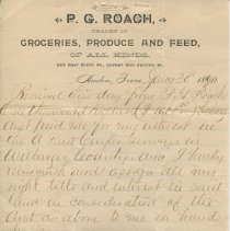 Image of Receipt from P.G. Roach's store, signed by W.S. Porter; recto