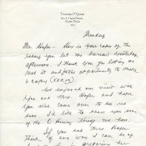 Image of Letter from Judge O'Quinn to Harry Hofer, recto